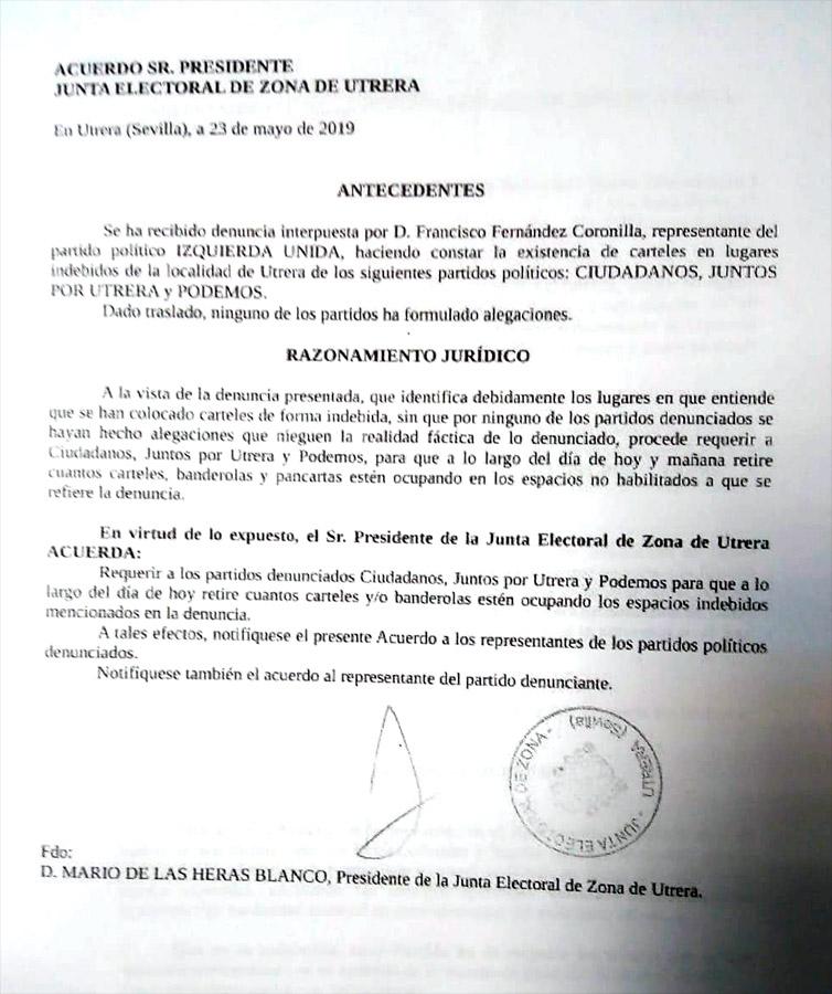 Resolución de la Junta Electoral de Zona de Utrera.