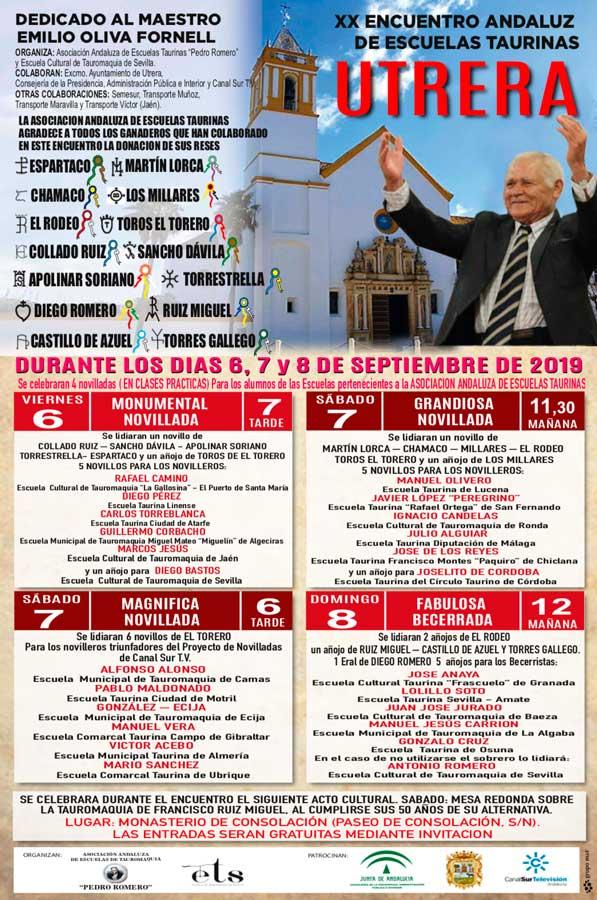 Cartel de este ciclo de novilladas que se celebrará durante la Feria de Utrera.