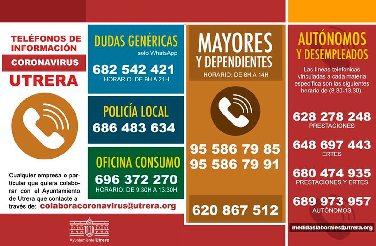 Nuevos teléfonos de información  del Ayuntamiento de Utrera que incluyen los de atención a los trabajadores autónomos y desempleados.