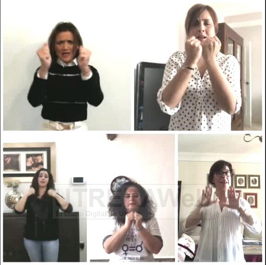 Imagen extraída del videoclip en lenguaje de signos en el participa la profesora de Utrera.