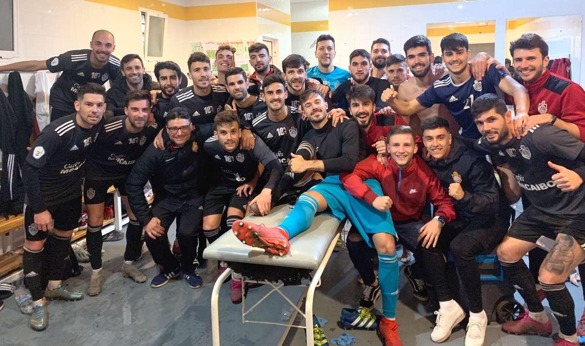 Así celebraron en el vestuario los jugadores del C.D. Utrera  la victoria ante el Coria C.F.