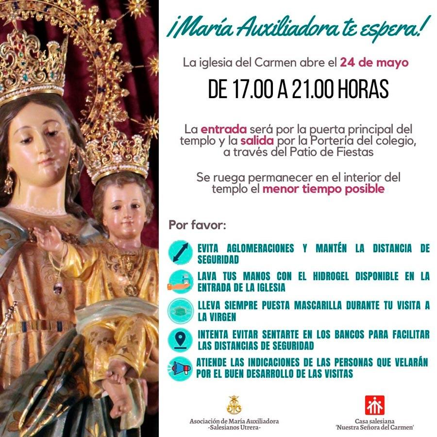 Cartel anunciador con las normas de acceso este domingo a la iglesia del Carmen de Utrera para visitar a la Virgen de Don Bosco.