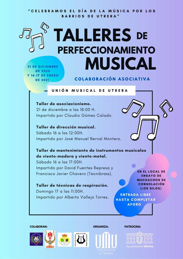 Cartel anunciador de los talleres de formación de la Unión Musical de Utrera.