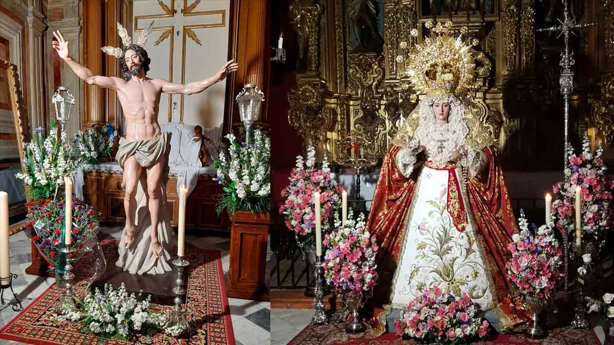 Jesús Resucitado y Virgen de la Estrella titulares de la Asociación de El Resucitado de Utrera.